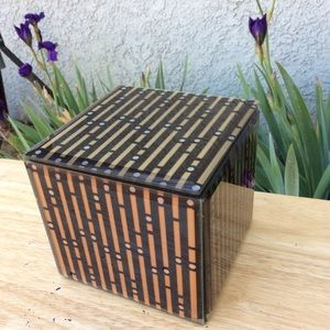 Glass Tile Square Striped Jewelry Trinket Box